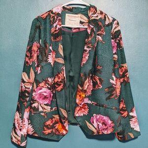 Anthropologie Green Floral Cropped Blazer jacket